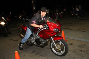 "Registration Coordinator, Dawn Chappell, destroyed the ""Bike Walk"" competition in just four seconds on her SV650."
