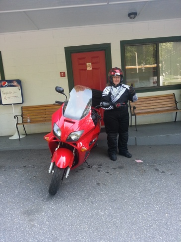 Dawn's 71-year old mother Sylvia heading out for her very first Dragon ride on her zippy scooter!