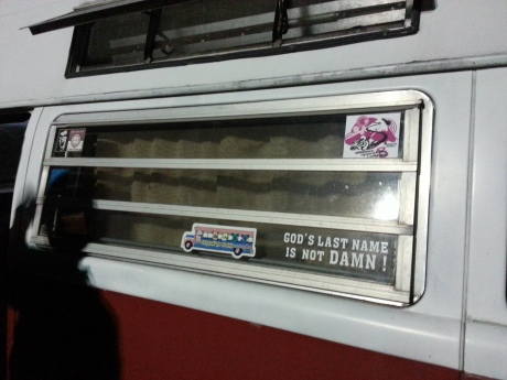 The scooter guys put our sticker on their vintage VW bus!
