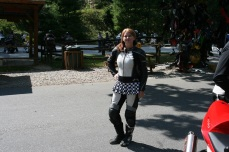 Leathers and a skirt! Perfect combination for Mahala!