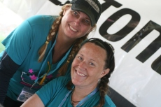 Beulah and Steph, pig tails and smiles!